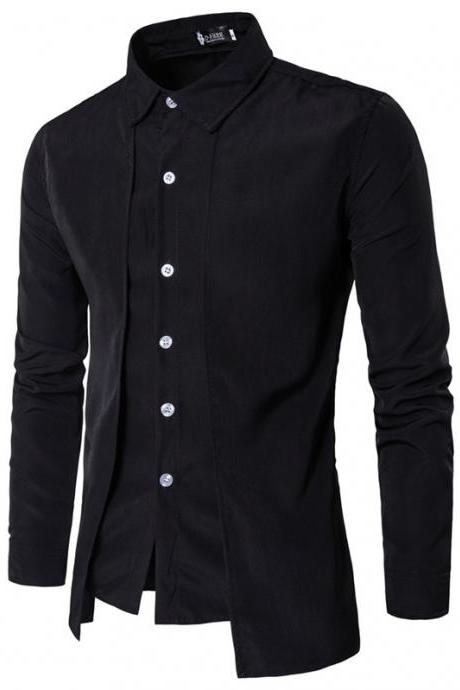 Men Shirt Fake Two Pieces Long Sleeve Single-Breasted Causal Business Slim Fit Male Shirt black