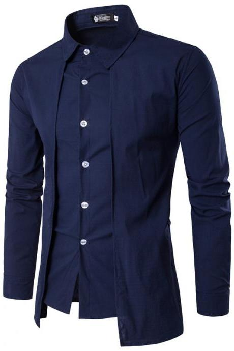 Men Shirt Fake Two Pieces Long Sleeve Single-Breasted Causal Business Slim Fit Male Shirt navy blue