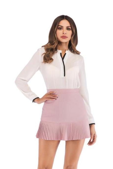 Women Mini Pleated Skirt Summer High Waist Slim Students Package Hip Pencil Skirt pink