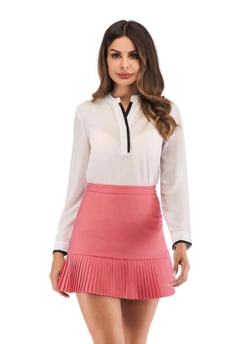 Women Mini Pleated Skirt Summer High Waist Slim Students Package Hip Pencil Skirt watermelon red