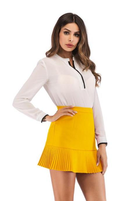 Women Mini Pleated Skirt Summer High Waist Slim Students Package Hip Pencil Skirt yellow