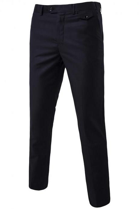 Men Suit Pants Cotton Solid Casual Business Formal Bridegroom Plus Size Wedding Trousers black