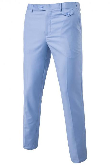 Men Suit Pants Cotton Solid Casual Business Formal Bridegroom Plus Size Wedding Trousers light blue