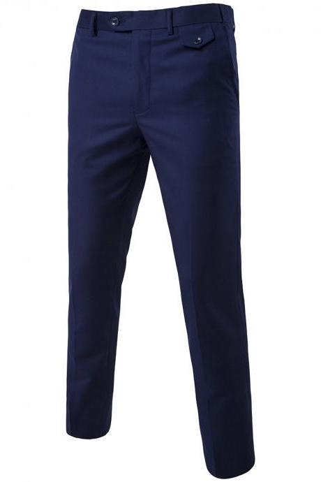 Men Suit Pants Cotton Solid Casual Business Formal Bridegroom Plus Size Wedding Trousers navy blue