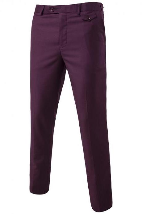 Men Suit Pants Cotton Solid Casual Business Formal Bridegroom Plus Size Wedding Trousers plum