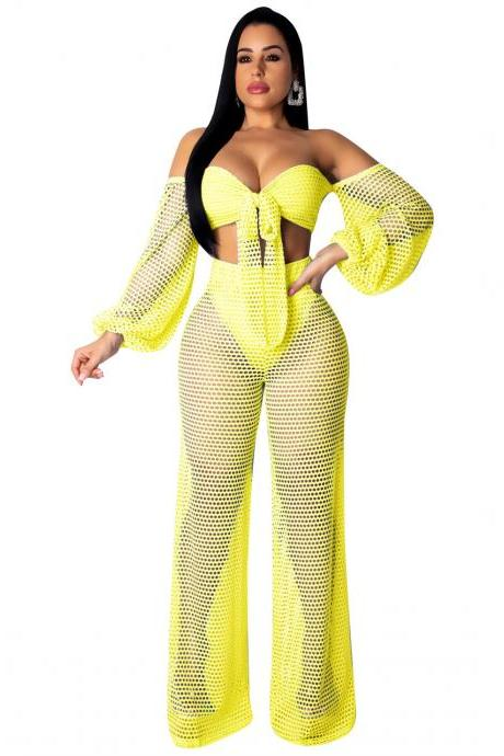 Women Tracksuit Summer Beach Hollow Out Lantern Sleeve Crop Tops+Wide Leg Pants Two Piece Set yellow