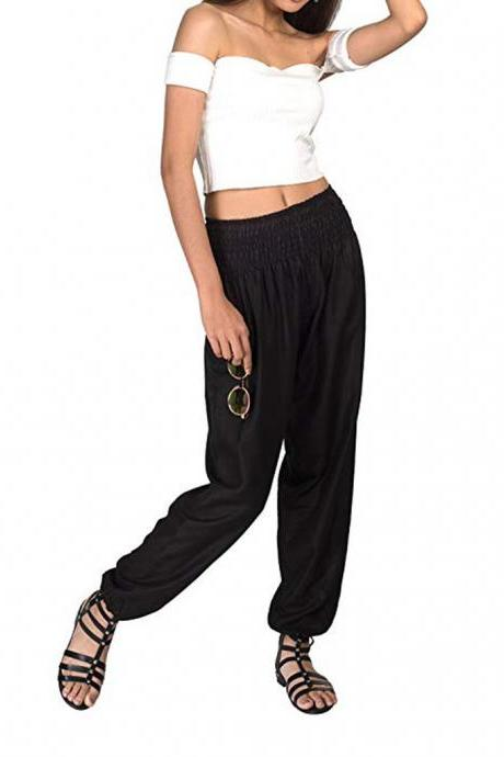 Women Harem Pants Elastic Waist Summer Pockets Plus Size Casual Loose Trousers black