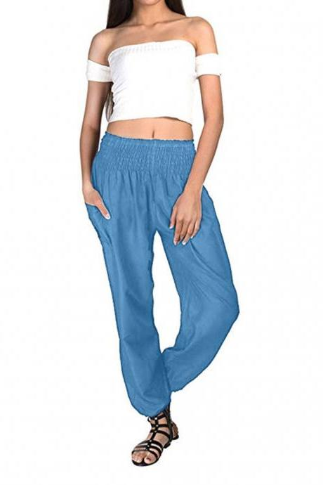 Women Harem Pants Elastic Waist Summer Pockets Plus Size Casual Loose Trousers light blue