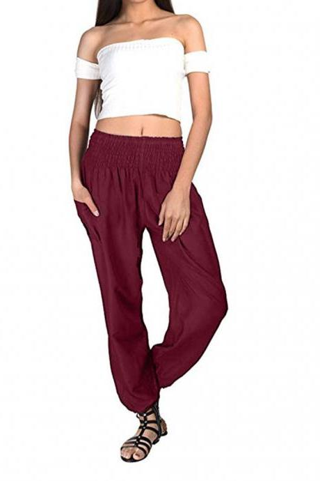 Women Harem Pants Elastic Waist Summer Pockets Plus Size Casual Loose Trousers wine red