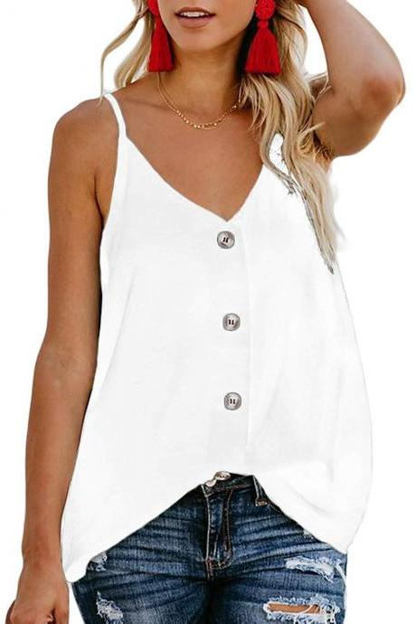 Women Button Tank Top Spaghetti Strap V Neck Summer Causal Loose Sleeveless Vest Tops off white