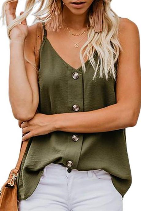 Women Button Tank Top Spaghetti Strap V Neck Summer Causal Loose Sleeveless Vest Tops army green