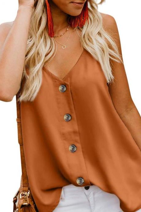 Women Button Tank Top Spaghetti Strap V Neck Summer Causal Loose Sleeveless Vest Tops orange
