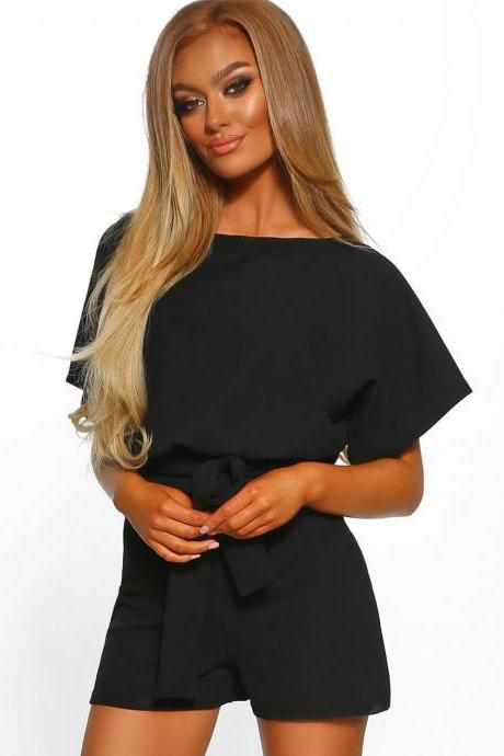 Women Jumpsuit Summer Short Sleeve Belted Casual Shorts Rompers Playsuit black