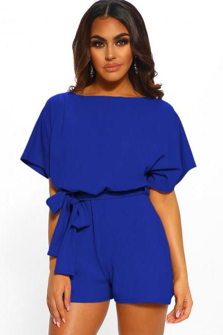 Women Jumpsuit Summer Short Sleeve Belted Casual Shorts Rompers Playsuit royal blue