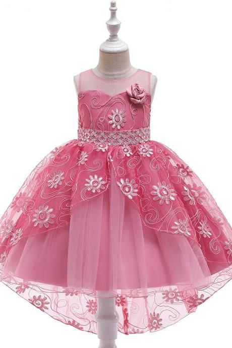 High Low Flower Girl Dress Embroidery Sequin Trailing Wedding Formal Birthday Party Gown Kids Children Clothes bean pink
