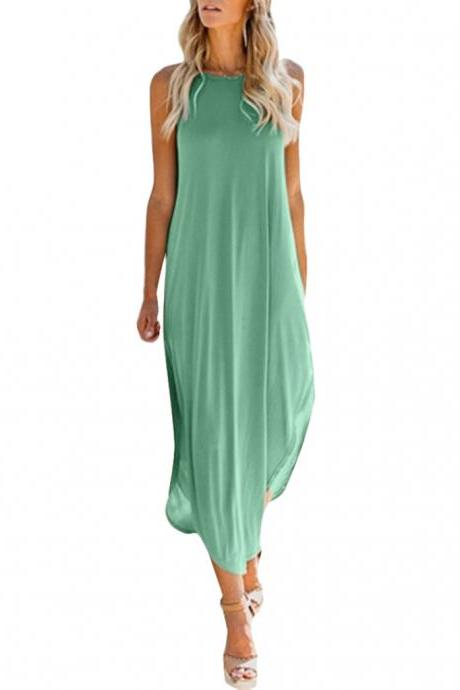 Women Asymmetrical Dress Summer Spaghetti Strap Side Split Casual Loose Beach Long Sundress pale green