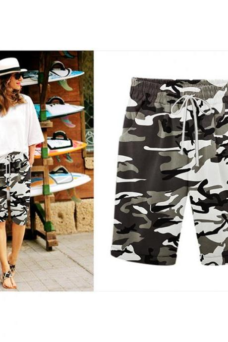 Women Camouflage Shorts Drawstring Elastic Waist Knee Length Summer Casual Loose Trousers army green