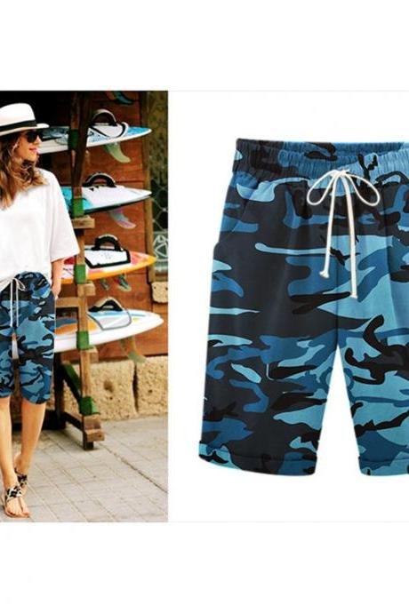 Women Camouflage Shorts Drawstring Elastic Waist Knee Length Summer Casual Loose Trousers blue