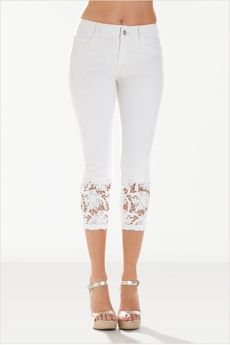 Women Jeans Summer Mid Waist Skinny Lace Patchwork Plus Size Stretch Calf-Length Denim Pants white