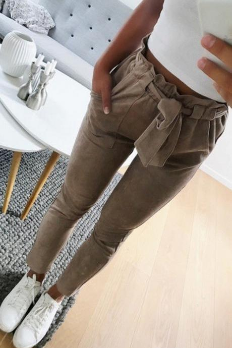 Women Harem Pants Bow Tie Belted High Waist Slim Casual Streetwear Capris Trousers khaki