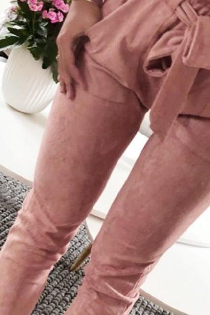 Women Harem Pants Bow Tie Belted High Waist Slim Casual Streetwear Capris Trousers pink