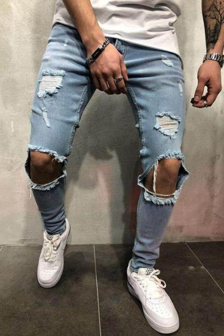 Men Skinny Jeans Trousers Mid Waist Ripped Hole Pencil Pants Casual Slim Denim Pencil Pants light blue