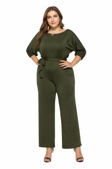 Women Jumpsuit Casual Solid Office 3/4 Sleeve Belted Streetwear Female Long Rompers Overalls army green