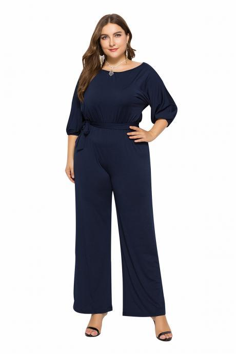 Women Jumpsuit Casual Solid Office 3/4 Sleeve Belted Streetwear Female Long Rompers Overalls navy blue