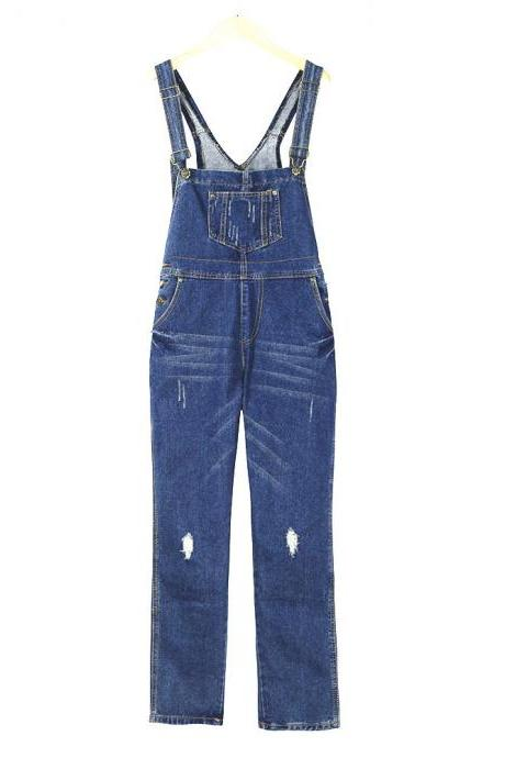 Women Denim Jumpsuit Ripped Holes Suspenders Pants Casual Loose Jeans Rompers Overalls blue