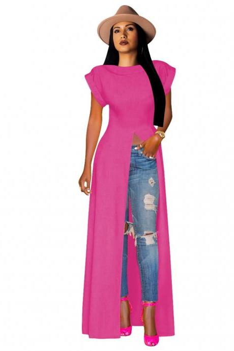 Women Maxi Dress O-Neck Short Sleeve Front High Split Casual Long Club Party Dress hot pink