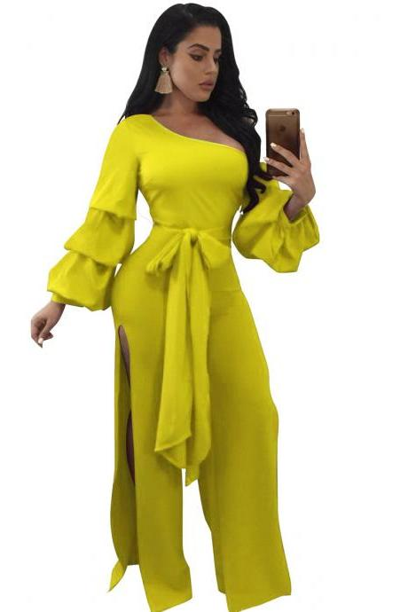 Women Jumpsuit Long Lantern Sleeve Split Side Belted Slim Casual Wide Leg Pants Rompers yellow