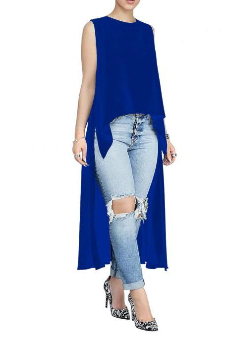 Women Asymmetrical Dress O Neck Sleeveless Summer Causal Maxi Party Dress royal blue