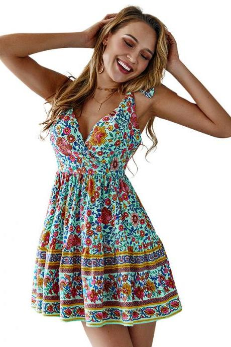 Women Floral Printed Dress V-Neck Summer Causal Beach Boho Mini A Line Dress green