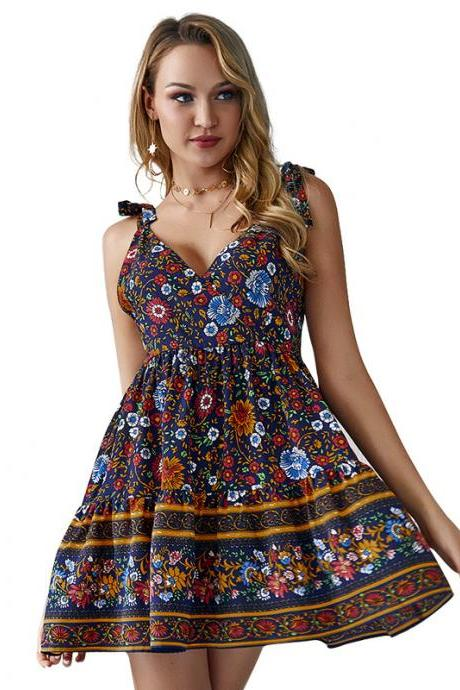 Women Floral Printed Dress V-Neck Summer Causal Beach Boho Mini A Line Dress navy blue