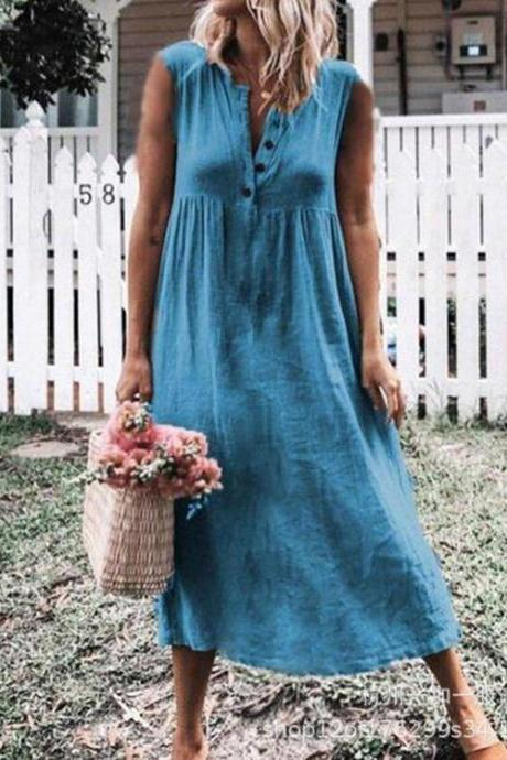 Women Maxi Dress Causal V Neck Short Sleeve Button Loose Summer Beach Long T Shirt Dress blue