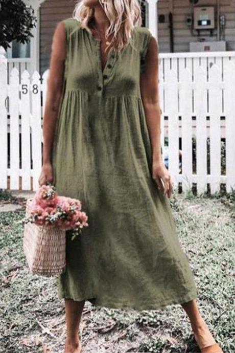 Women Maxi Dress Causal V Neck Short Sleeve Button Loose Summer Beach Long T Shirt Dress green