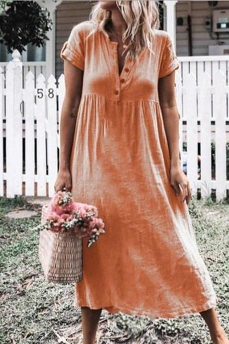 Women Maxi Dress Causal V Neck Short Sleeve Button Loose Summer Beach Long T Shirt Dress orange