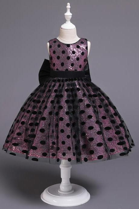 Polka Dot Flower Girl Dress Sleeveless Formal Birthday Party Gown Kids Children Clothes pink