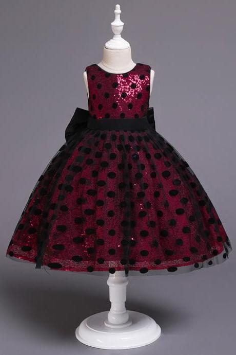 Polka Dot Flower Girl Dress Sleeveless Formal Birthday Party Gown Kids Children Clothes red