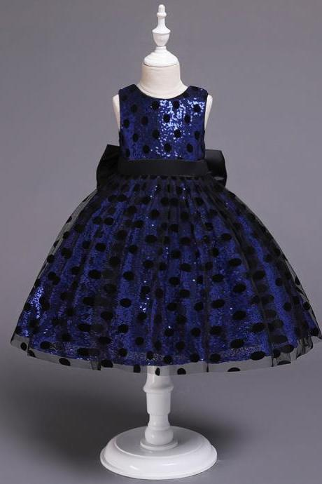 Polka Dot Flower Girl Dress Sleeveless Formal Birthday Party Gown Kids Children Clothes royal blue