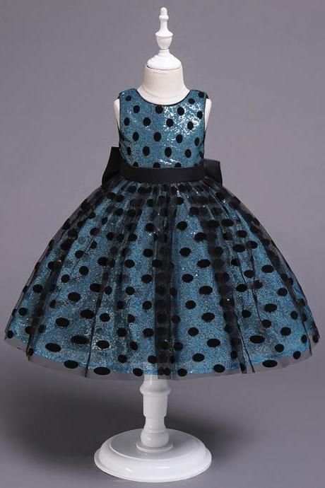 Polka Dot Flower Girl Dress Sleeveless Formal Birthday Party Gown Kids Children Clothes turquoise