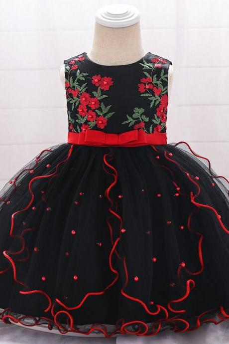 Embroidery Flower Girl Dress Beaded Tutu Newborn Baby Birthday Baptism Party Dress Kids Clothes black