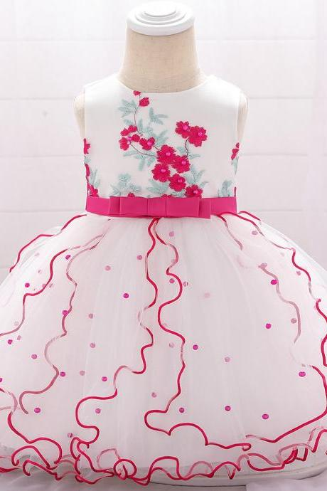 Embroidery Flower Girl Dress Beaded Tutu Newborn Baby Birthday Baptism Party Dress Kids Clothes hot pink