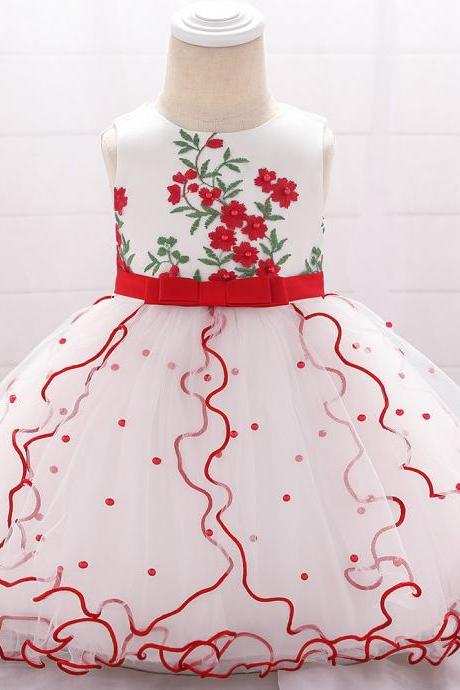 Embroidery Flower Girl Dress Beaded Tutu Newborn Baby Birthday Baptism Party Dress Kids Clothes red