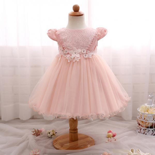 Baby 1st Birthday Dresses For Girls Beauty Lace Flower Girl Wedding Dress Little Baby Child Christening Gown Infant 2T pink
