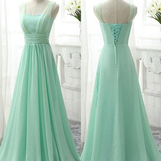 Straps Mint Green Long Lace-Up Bridesmaid Dresses, Chiffon Bridesmaid Dresses, Mint Wedding Party Dresses, Prom Dresses ,Formal Gowns