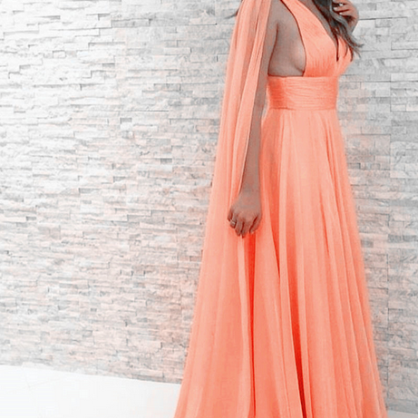V-Neck Chiffon Evening Dresses, Sexy Prom Dresses,Long Party Dresses,New Arrival Prom Dress,Modest Prom Dress,coral Formal Gowns