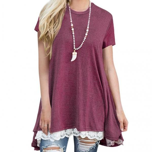 Spring Autumn Women T Shirt Streetwear Casual Short Sleeve Lace Patchwork Loose Basic Tee Ladies Tops dark red