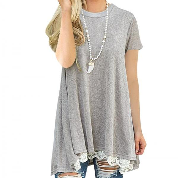 Spring Autumn Women T Shirt Streetwear Casual Short Sleeve Lace Patchwork Loose Basic Tee Ladies Tops light gray