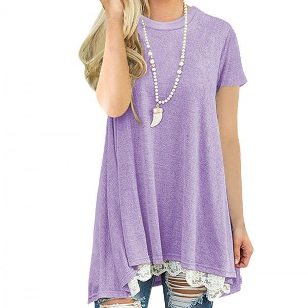 Spring Autumn Women T Shirt Streetwear Casual Short Sleeve Lace Patchwork Loose Basic Tee Ladies Tops lilac